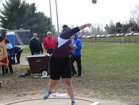 Licking Heights senior Cherokee Bodell throws the shot put April 7 during the Newark Catholic Invitational.
