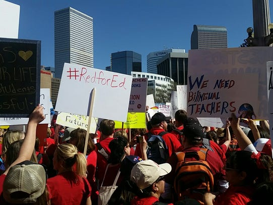 Scenes from teacher demonstrations at the Colorado