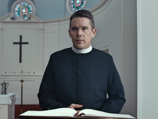 "In ""First Reformed,"" the Rev. Toller (Ethan Hawke)"