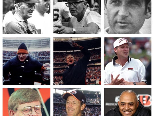 All nine Cincinnati Bengals head coaches from 1968-2017.