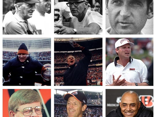 All nine Cincinnati Bengals head coaches from 1968-2017. From top left, Paul Brown, Bill Johnson, Homer Rice. From middle let, Forrest Gregg, Sam Wyche, David Shula. From bottom left, Bruce Coslet, Dick LeBeau, Marvin Lewis.