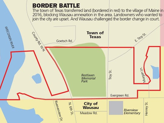 BORDER BATTLE: The town of Texas transferred land (bordered