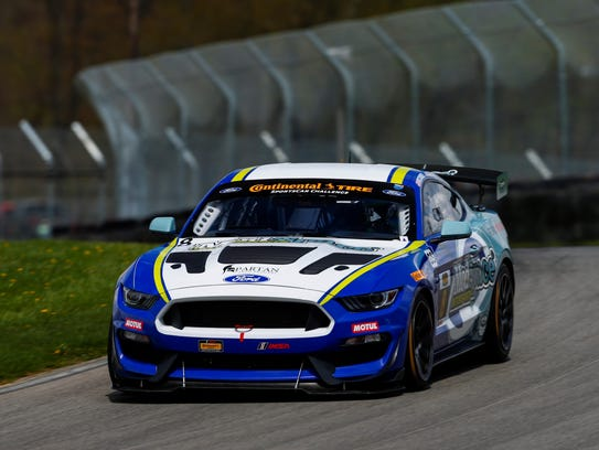 Ohio native Patrick Gallagher races his Mustang around