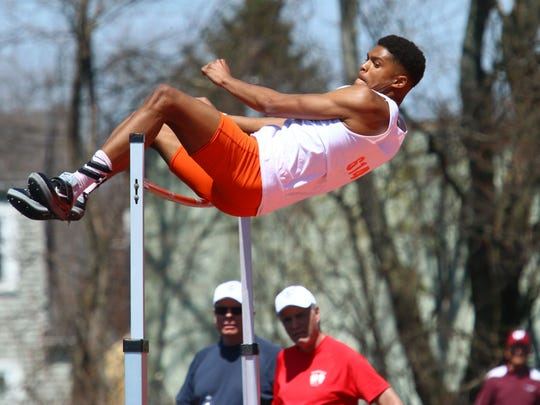 Mansfield Senior's Joe Ellis cleared 6-8 to win the boys high jump title in Saturday's 84th Mehock Relays.