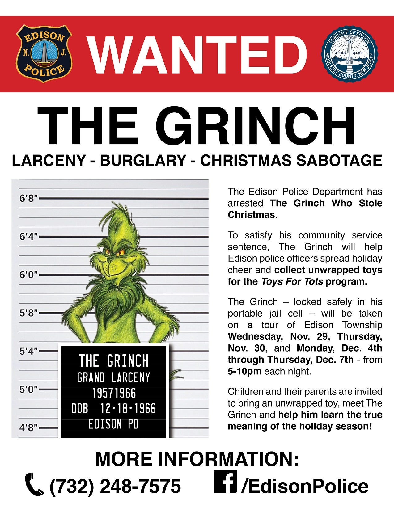Edison Cops arrest the Grinch trying to steal Christmas
