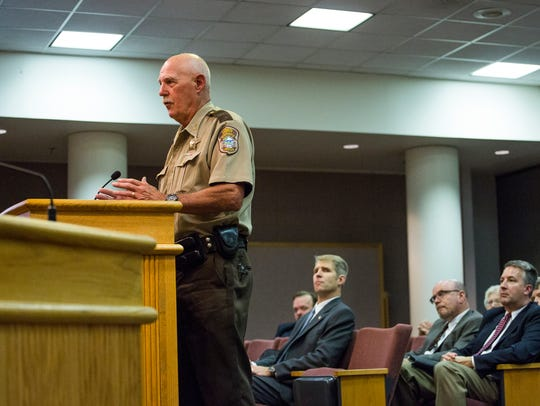 Augusta County Sheriff Randy Fisher addresses the Augusta