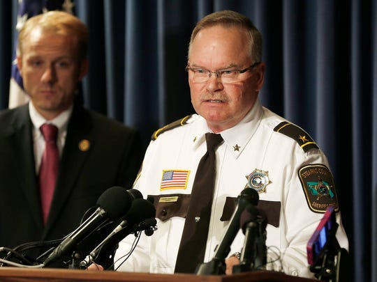 Stearns County Sheriff John Sanner takes questions during a 2015 news conference.