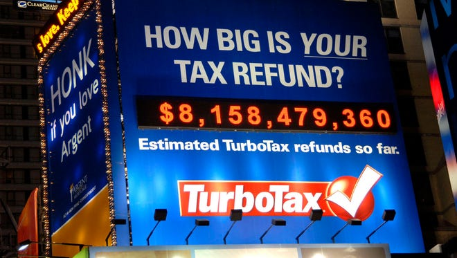 A billboard in Times Square tracked real-time estimated federal tax refunds processed through TurboTax tax-preparation products.