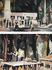 Watercolors by artist Robert Wilvers, 1953 Bratwurst