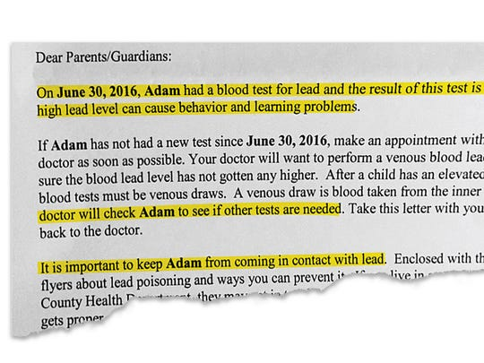 The letter the Walton family received from Texas state health officials about their son's blood tests.