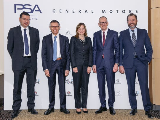 From left, Jean-Baptiste De Chatillon (head of finance PSA); PSA Group CEO Carlos Tavares; GM CEO Mary Barra; Opel CEO Dr. Karl-Thomas Neumann and GM President Dan Ammann.