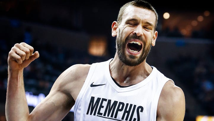 Memphis Grizzlies center Marc Gasol reacts after missing
