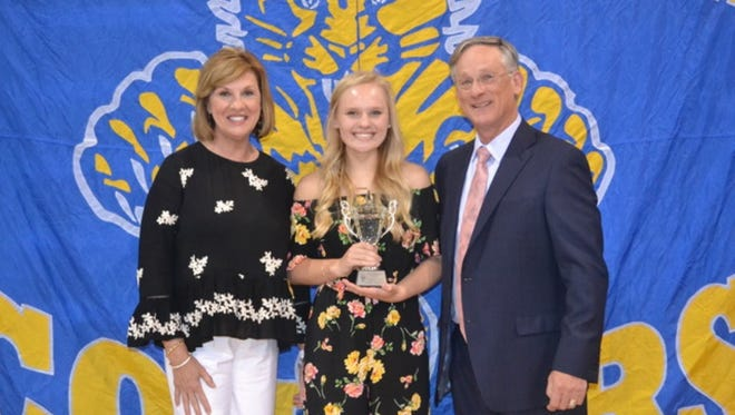 Pictured from left to right: Kay D. Drew, Abbey Hogan, and Shan Smith. Hogan is the winner of the 2017 Billy Frank Smith Memorial Athletic Award.