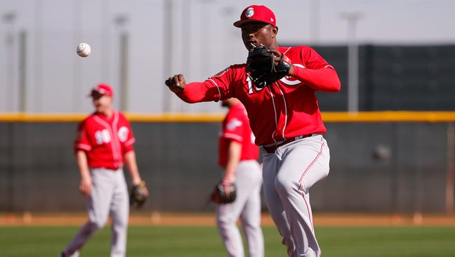 Cincinnati Reds second baseman Dilson Herrera fields groundballs during Reds spring training, Friday, Feb. 17, 2017, at the Reds player development complex in Goodyear, Arizona.