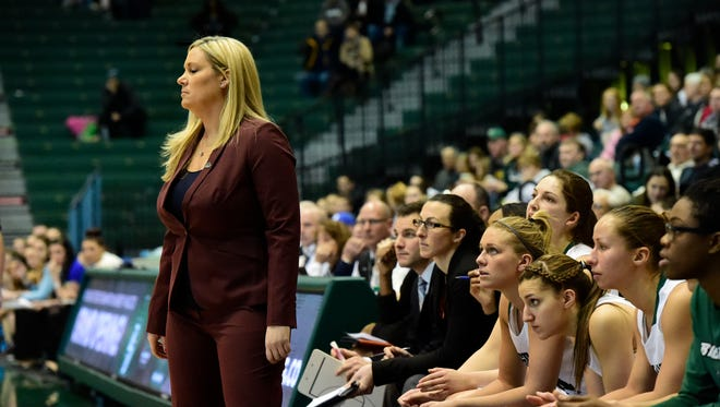Binghamton University women's basketball coach Linda Cimino looks on during a game against Vermont at the Events Center.