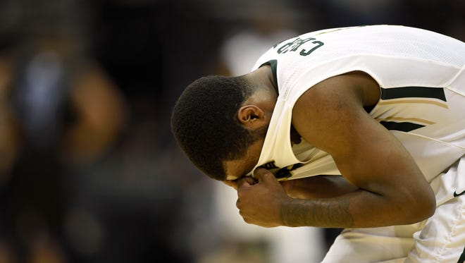 Baylor Bears guard Kenny Chery (1) reacts after suffering an injury against the Georgia State Panthers in the first half of a game in the second round of the 2015 NCAA Tournament at Jacksonville Veteran Memorial Arena.