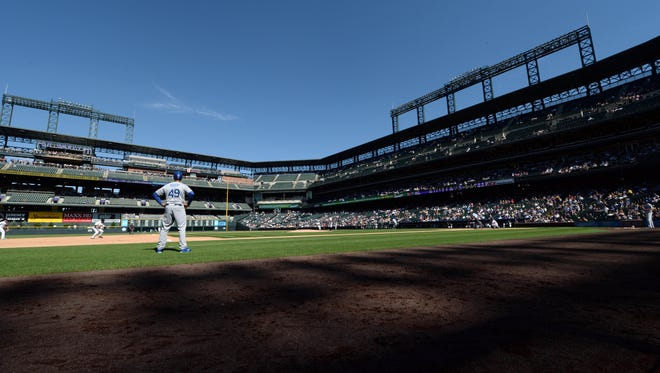 General wide view of Coors Field during the fifth inning of a game between the Los Angeles Dodgers against the Colorado Rockies on Sept. 17, 2014 in Denver.