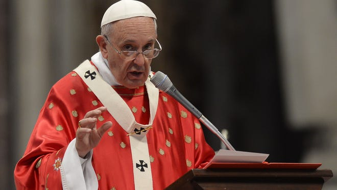 Pope Francis leads a mass on the Solemnity of Pentecost at St. Peter's Basilica on May 24, 2015 at the Vatican.