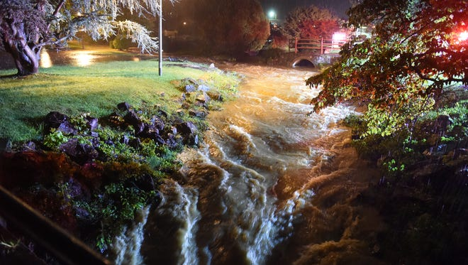 A flood swollen Lewis Creek flows through Gypsy Hill park. July, 2015.