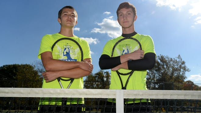 Lincoln's No. 1 doubles duo of Austin Lanich, left, and Jacob Kissick Oct. 14, 2015 in Cambridge City.