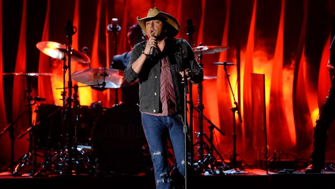 Jason Aldean performs during the 48th annual CMA Awards. On January 23, he's headlining at JQH Arena in Springfield. Tickets go on sale Friday.