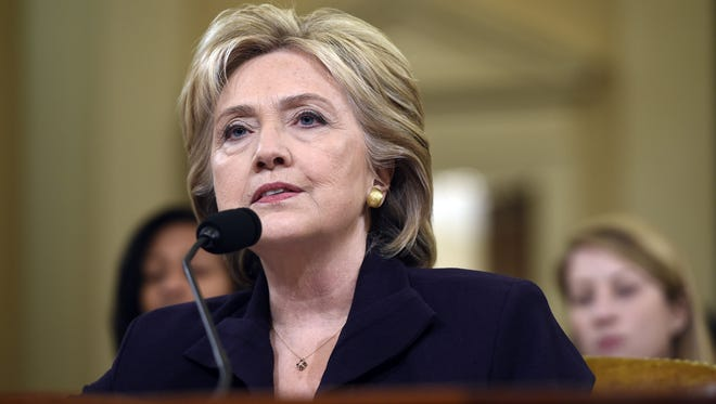 Former Secretary of State and Democratic Presidential hopeful Hillary Clinton testifies to the House Select Committee on Benghazi on Capitol Hill in Washington on Oct. 22, 2015.