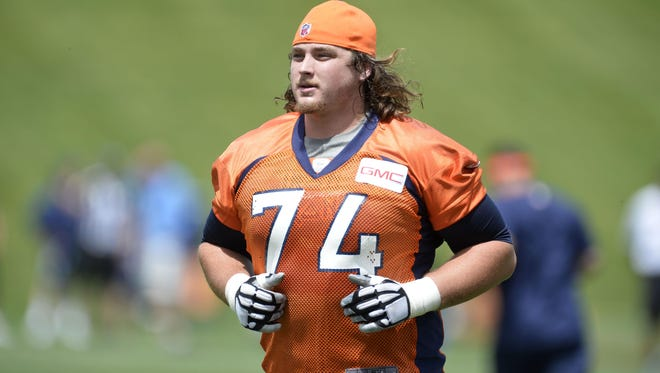 Denver Broncos tackle Ty Sambrailo (74) is pictured during mini camp activities at the Broncos training facility.