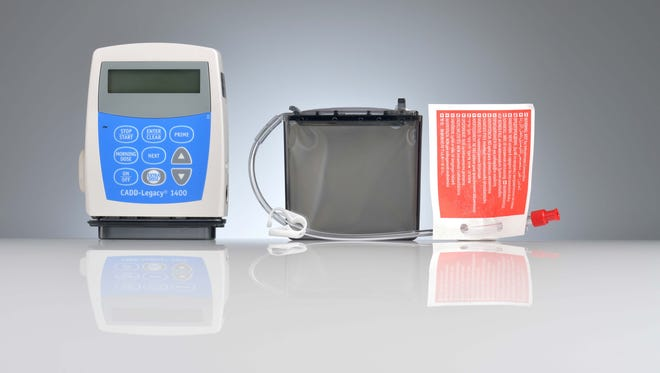 Duopa is a treatment for advanced Parkinson's disease. The CADD-Legacy 1400 infusion pump is used in combination with the grayish cassette that contains the drug.