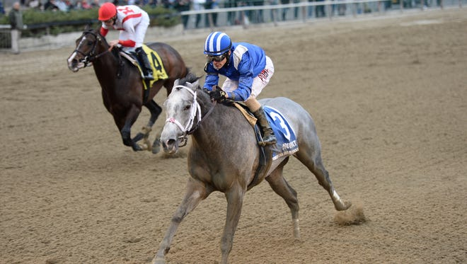 Mohaymen topped Flexibility, outside to take the Grade II Remsen at Aqueduct Racecourse.