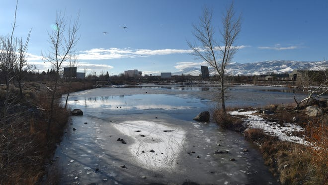 A 19-year-old man died at a local hospital after falling through a frozen pond at Paradise Park on Friday morning Jan. 8, 2015.