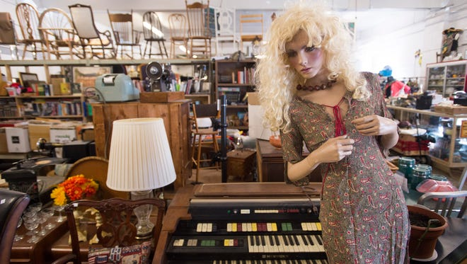 """""""Tipsy,"""" a mannequin that models clothing at Eco-Thrift in Fort Collins, stands on the sales floor Friday, January 22, 2016. The local thrift store sells furniture, clothing and assorted items."""
