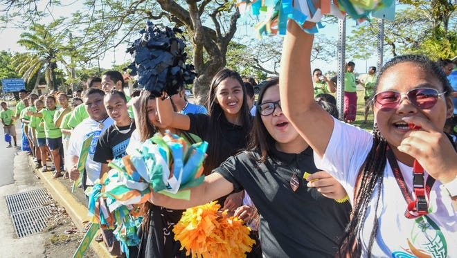 Hundreds of supporters turn out to the 100 Days until FestPac Wave in Hagåtña on Feb. 5.
