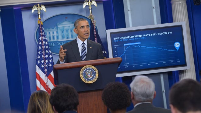 President Obama speaks on the economy in the Brady Briefing Room of the White House on Feb. 5, 2016.