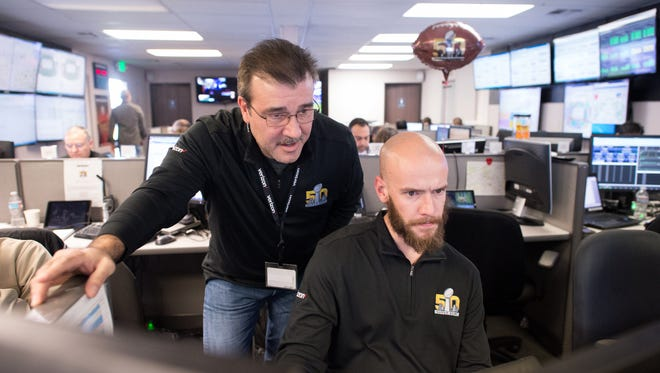 The Verizon network team is seen working at their Super Bowl 50 command center in Sunnyvale, Calif. on Sunday, Feb. 7, 2016. (