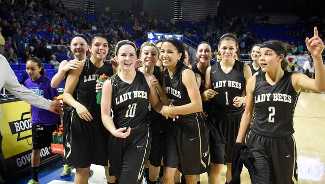 Upperman celebrates as they win 76-54 over McMinn Central High School in the Division I Class AA Girl's basketball semi-finals at the Murphy Center on MTSU's campus March 11, 2016 in Murfreesboro, Tenn.