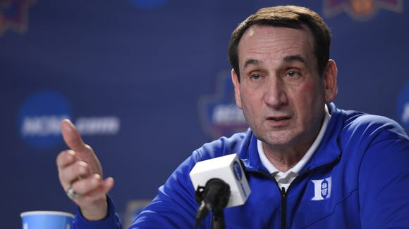 March 23, 2016; Anaheim, CA, USA; Duke head coach Mike Krzyzewski speaks to media during practice the day before the semifinals of the West regional of the NCAA Tournament at Honda Center. Mandatory Credit: Richard Mackson-USA TODAY Sports