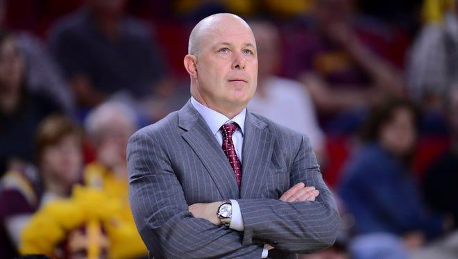 Arizona State Sun Devils head coach Herb Sendek looks on against the USC Trojans in February of 2015.