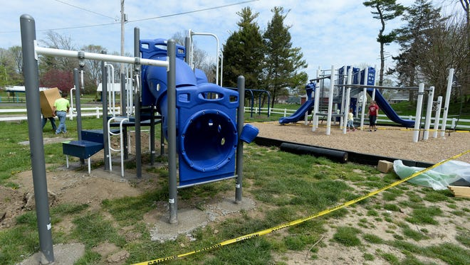 New equipment is added to the Centerville playground recently.
