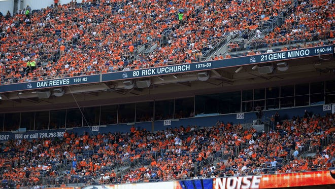 General view of Ring of Fame names at Sports Authority Field at Mile High, including former Denver Broncos head coach Dan Reeves, wide receiver Rick Upchurch and return specialist Gene Mingo, during a game against the Kansas City Chiefs on Sept. 14, 2014.