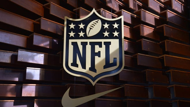 General view of NFL golden shield logo at Niketown San Francisco Union Square prior to Super Bowl 50.