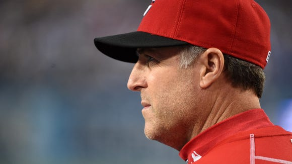 Cincinnati Reds manager Bryan Price (38) reacts during a MLB game against the Los Angeles Dodgers at Dodger Stadium.