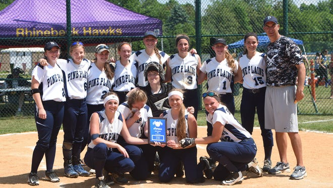 The Pine Plains softball team poses after winning the Section 9 Class C title Saturday.
