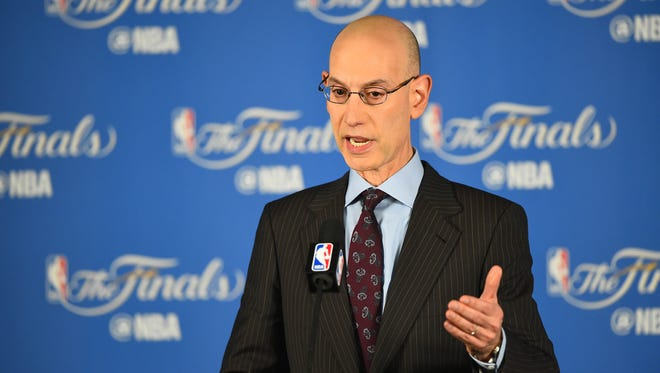NBA commissioner Adam Silver speaks to media before the Golden State Warriors play against the Cleveland Cavaliers in game one of the NBA Finals at Oracle Arena. Mandatory Credit: Bob Donnan-USA TODAY Sports