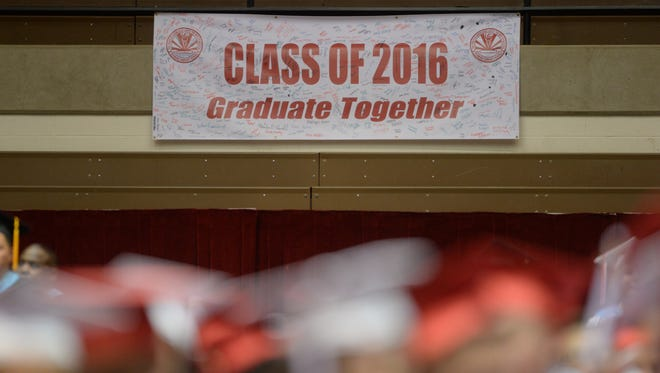 Students graduate during commencement for the class of 2016 at Richmond High School Sunday, June 5, 2016 in the Tiernan Center at Richmond High School.