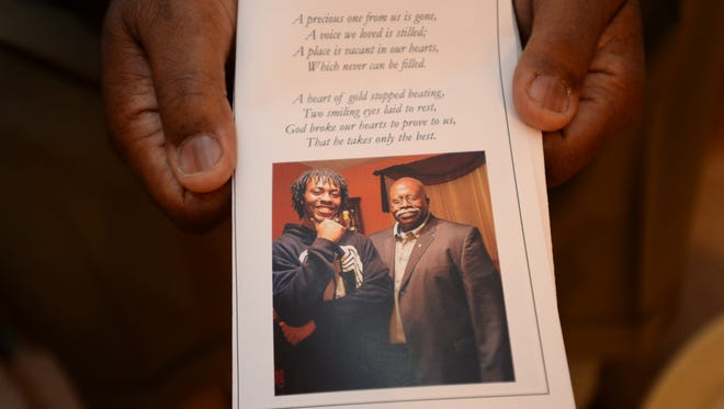 """Fred Babb, who recently lost his son Jeremy to gun violence, speaks with The Greenville News on Friday. His brother Thomas """"Nolan"""" also lost his son Demetrius to gun violence 30 years ago."""