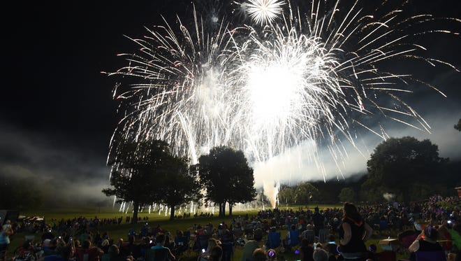 Fireworks burst over the crowd during a previous Red, White & Blue Festival. What started as a roadside fireworks display is now the biggest festival in the Twin Lakes Area.
