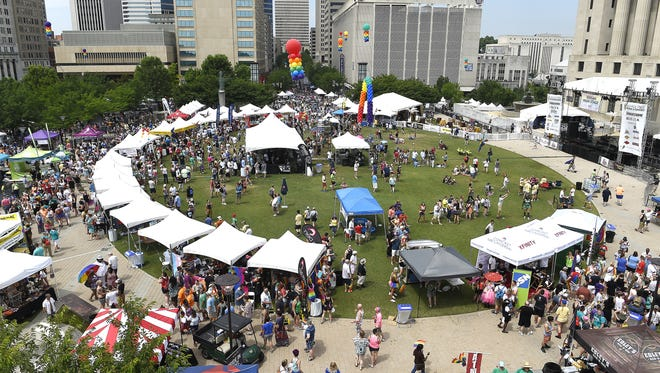 The LGBT community gathers at Public Square Park for the Nashville Pride Festival on Saturday June 25, 2016.