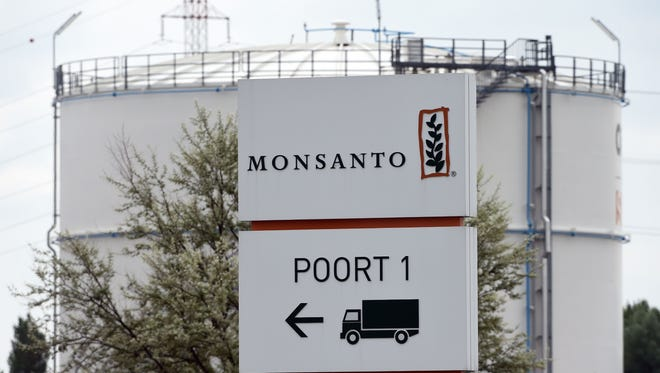 File photo taken in 2016 shows the Monsanto logo in Lillo, Belgium near the company's manufacturing site and operations center in Antwerp.