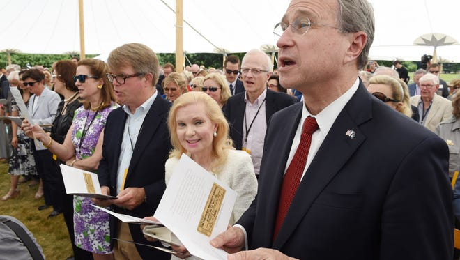 """Edward F Cox and his wife Tricia Nixon Cox sing """"Happy Days are Here Again"""" at the conclusion of the FDR Library and Museum 75th anniversary commemoration in Hyde Park on Thursday."""