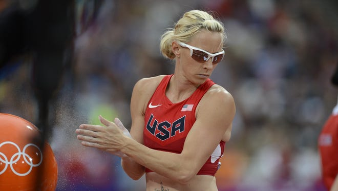Reed High alum Becky Holliday, shown during the 2012 Olympics, failed to advance to the finals of the U.S. Olympic trials in pole vault on Friday.